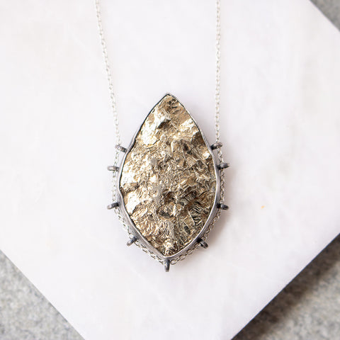 Pyrite Cliffs Marquise Necklace