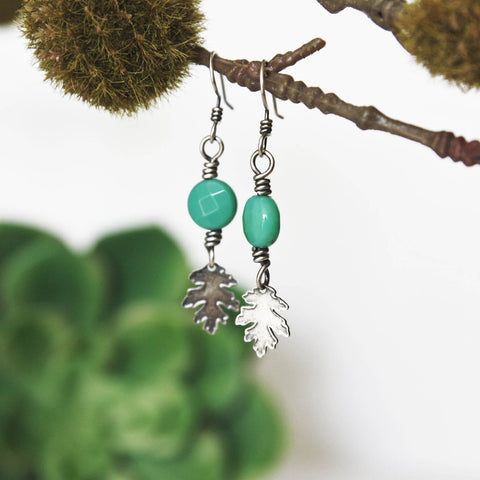 Leaf Earrings with Circle Bead - Artisan's Bench