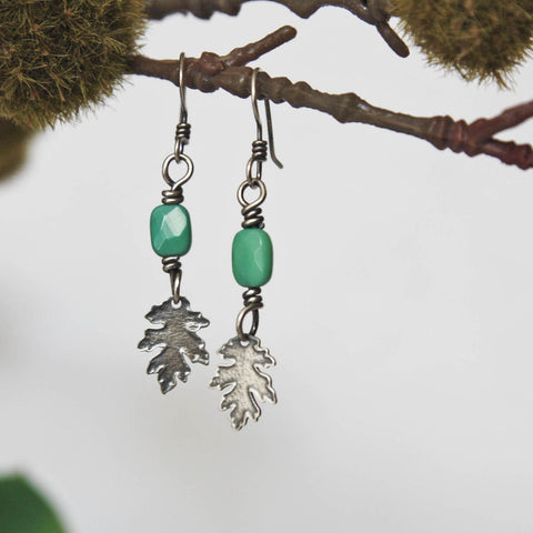 Leaf Earrings with Square Bead - Artisan's Bench