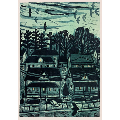 Nightfall in Neighborhood 16x20 | Woodblock Print