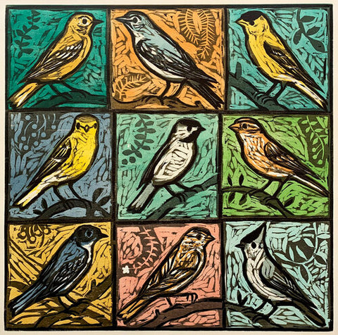 Nine Song Birds 32x32 | Woodblock Print