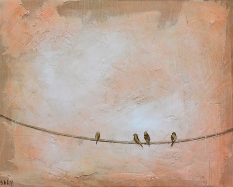 Birds on a Wire | 10x8 Painting | Orange