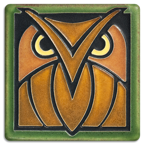 Motawi Owl in Green Oak - 4x4 - Artisan's Bench