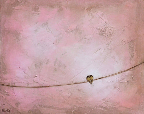Birds on a Wire | 10x8 Painting | Pink
