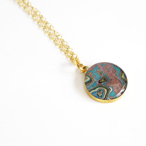 Rebel Nell Gold Brass Pendant (pinks) - Artisan's Bench