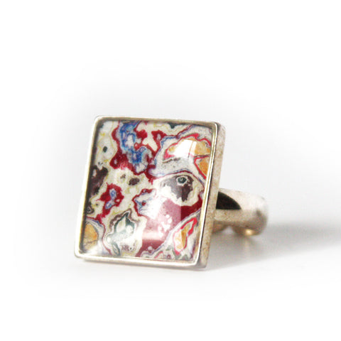 Rebel Nell Square Ring (red) - Artisan's Bench
