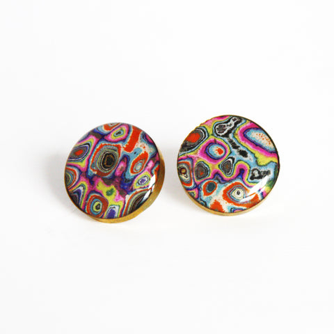 Rebel Nell Brass Earrings (psychedelic) - Artisan's Bench