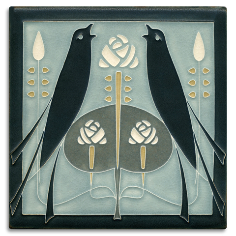 Motawi Songbirds in Grey Blue - 8x8 - Artisan's Bench