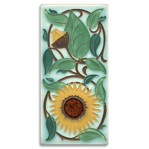 Motawi Sunflower in Light Blue - 4x8 - Artisan's Bench