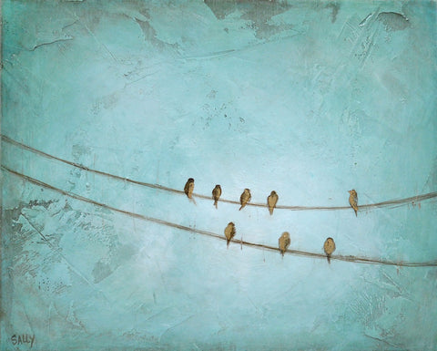 Birds on a Wire | 10x8 Painting | Teal no.2