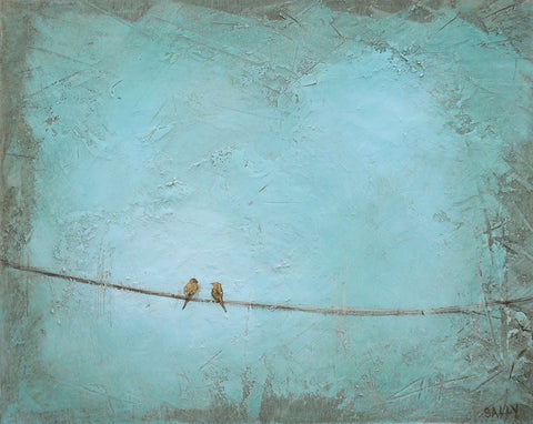 Birds on a Wire|  10x8 Painting | Teal no.4