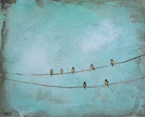 Birds on a Wire | 10x8 Painting | Teal no.1
