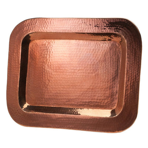 Hammered Copper Rectangle Tray 12 x 17 - Artisan's Bench