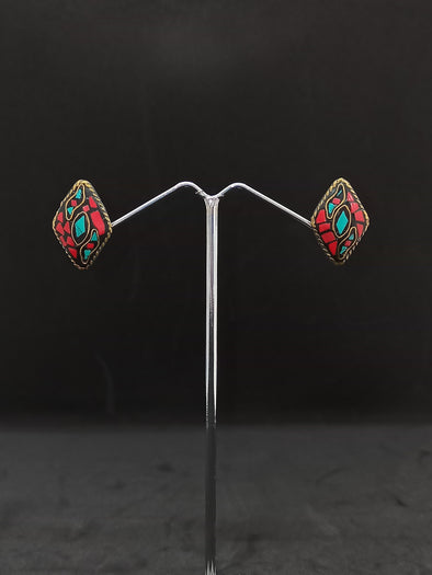 Aretes Topo Rombo hindú PPM18 - BOUTIQUE DE LA INDIA