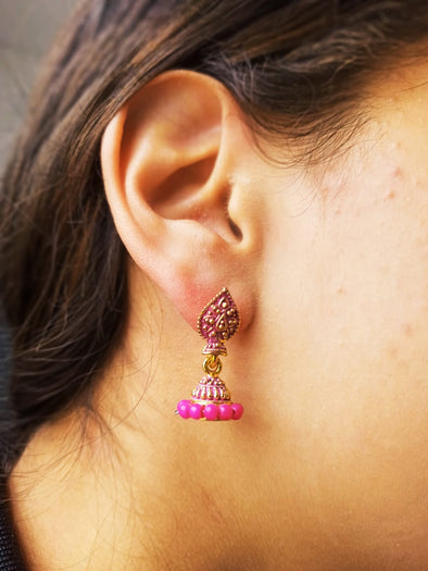 Aretes Jumka Dorado hindú PPM17 - BOUTIQUE DE LA INDIA