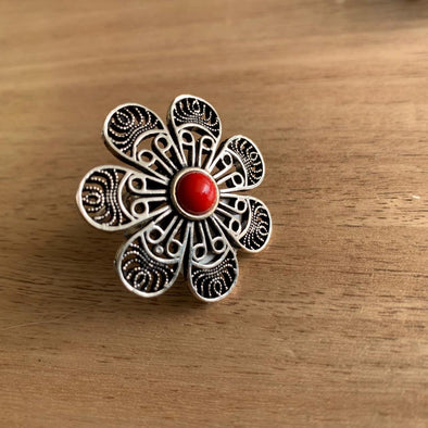 Anillo Flor Coral hindú PPM22 - BOUTIQUE DE LA INDIA