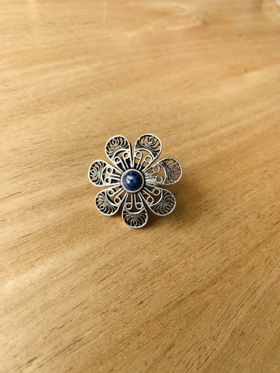 Anillo Flor Lapislazul hindú PPM22 - BOUTIQUE DE LA INDIA