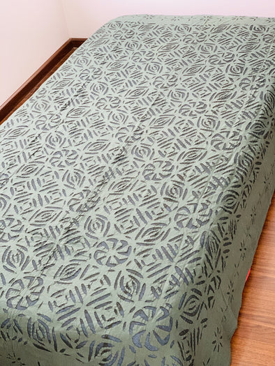Cubrecama Sencillo o Mantel Cutwork hindú (150cm x 230cm) PPM140 - BOUTIQUE DE LA INDIA