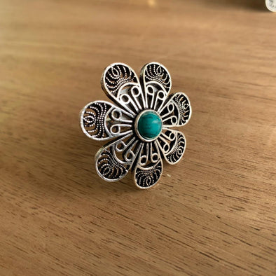 Anillo Flor Malaquita hindú PPM22 - BOUTIQUE DE LA INDIA