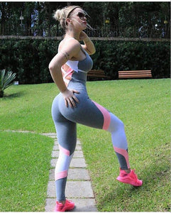 Pink and Gray Super Soft Fitness Jumpsuit