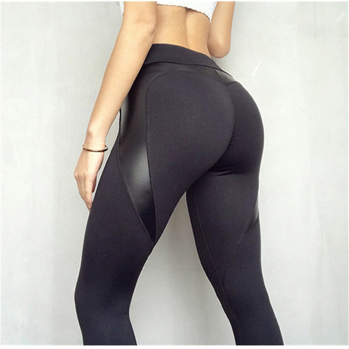 Black Leather High Waisted Fitness Leggings