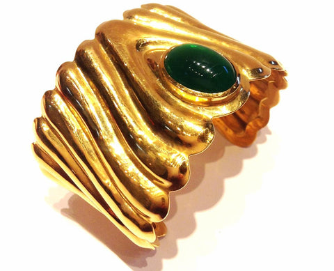 Cuff with Green Jade and Yellow Gold
