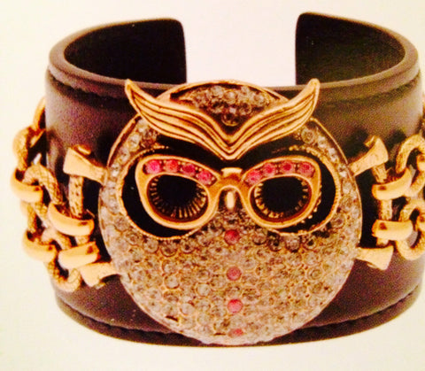 Leather Cuff With Owl