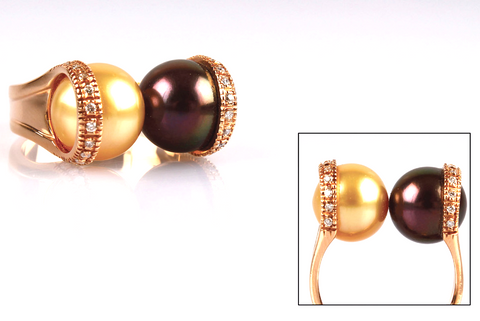 """ Australian Gold and Tahitian Chocolate Pearl "" Ring"