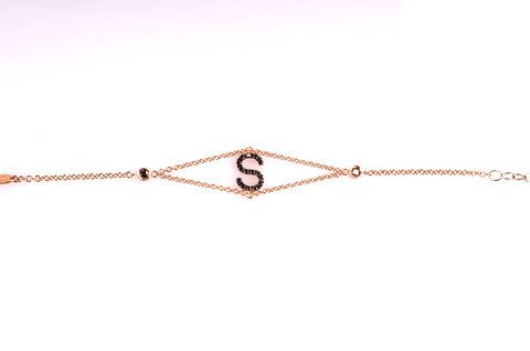 Bracelet with Black Diamond letter
