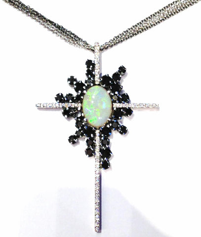 Opal's Cross with Black Diamonds