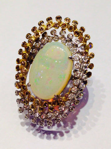 Sunflower Of Opal And Diamonds