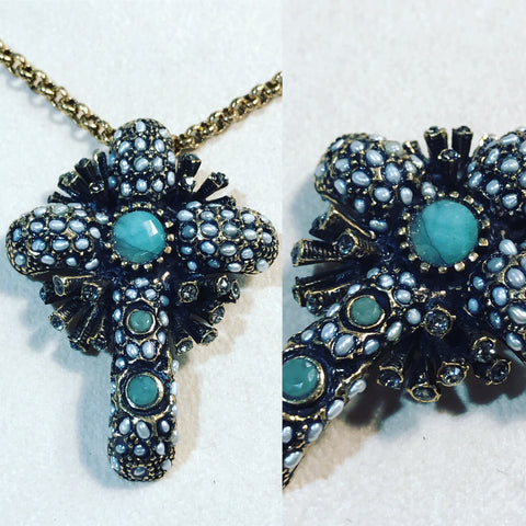 "Necklace in Bronze "" Cross with Pearls and Turquoise "" ref. C4476C"