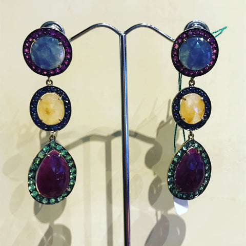 Pendant Earrings with Quartz and Green Sapphires