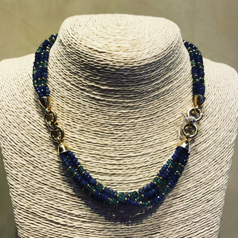 Necklace with Yellow Gold, Sapphires and Emeralds