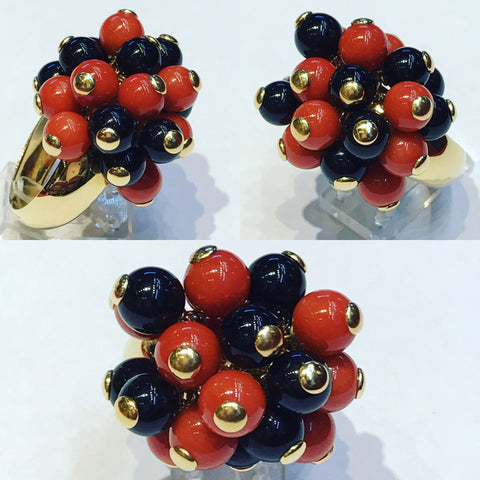 Ring with Beads of Red and Black Coral