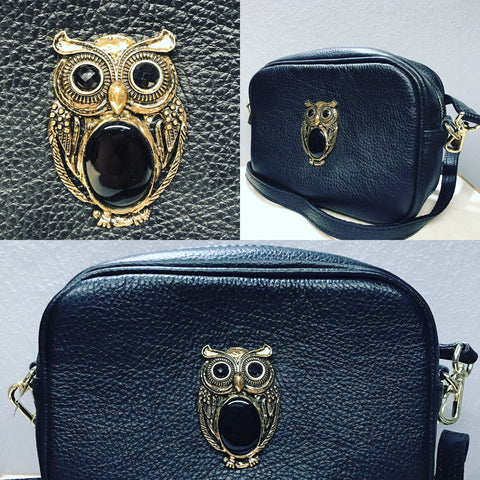 "Cross Bag with "" Owl in Bronze """