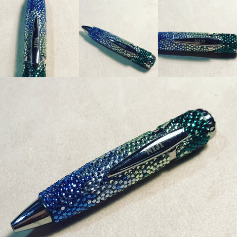 "Niji Pen "" Green , White and Blue Searovsky """