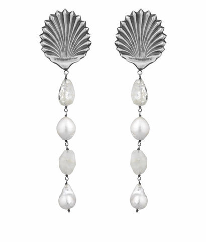 Amle' Earrings - Shells and Pearls -