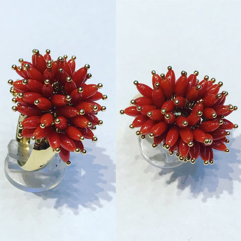 Ring with Oval beads of Coral