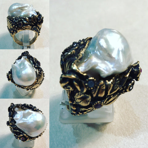 "Ring in Bronze "" Pearl and Quartz "" ref. A88FX15"