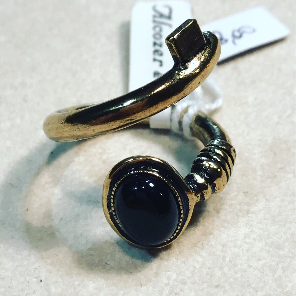 Ring with Quartz and Black Onyx