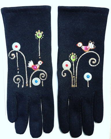 "Gloves French Style : "" Birds """