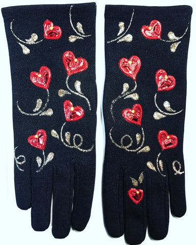 "Gloves French Style "" Hearts in the air """