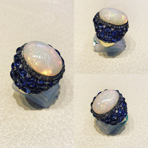 Ring with White Australian Opal