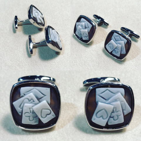 "Cufflinks with Cameo "" Play Cards """