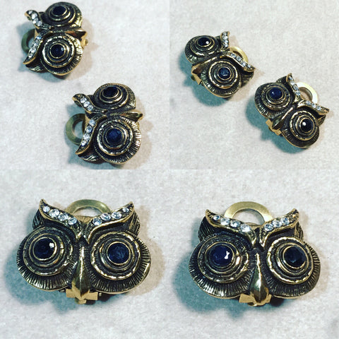"Earrings in Bronze "" Black Owl """