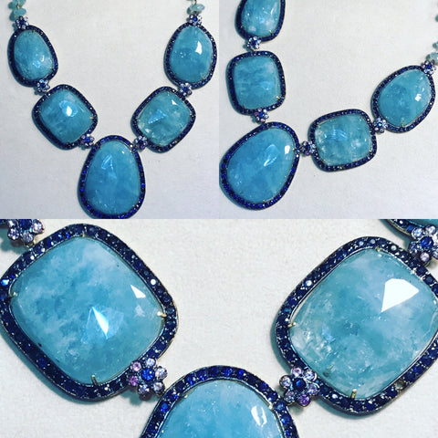 "Necklace "" Flat Aquamarines """