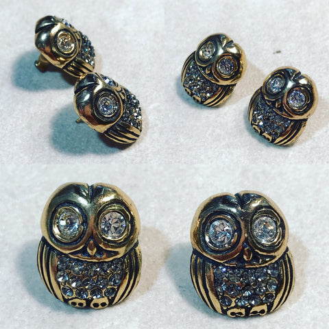 "Earrings "" Owl with Zircons """