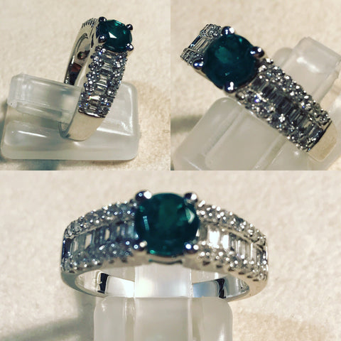 Ring with Emerald and Baguette Diamonds