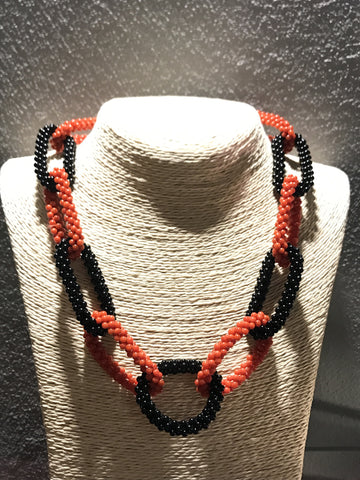 Chain of Black and Red Coral Necklace